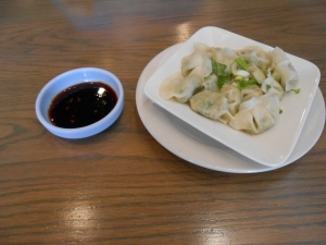 Mul-mandu with soy based house sauce.