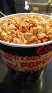 There's two main types of popcorn here in Korea. Normal and then caramel popcorn that tastes like it's doused in maple syrup.