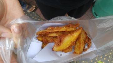 Second stop on the street food breakfast was this. Delicious and greasy sweet potato fries. They were amazing.