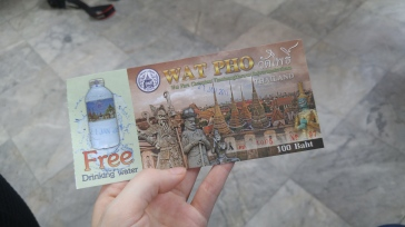 Tiny free bottle of water? Yes please. Also note it's only 100 baht to visit ($2.81)