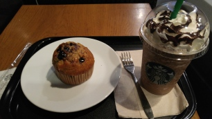 unhealthy breakfast before my flight at starbucks