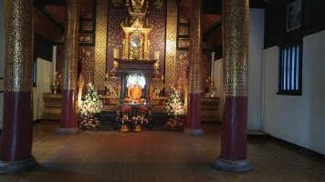 There are several small temples on the grounds with wax figures of important monks like this one