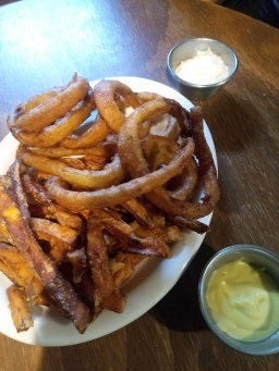 Half and Half side: sweet potato fries and onion rings plus dip