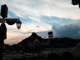 View of Mount Prometheus from the Mediterranean Harbor during Sunset