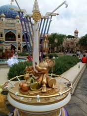 35th anniversary Mickey Mouse statue found in the Arabian Coast laying down and drinking tea?