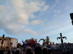 Captain Hook float with Mr. Smee and various dancers on the stage in front of it.