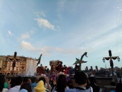 Goofy dancing with villain themed dancers with kites, vines and people hydroflying in the background