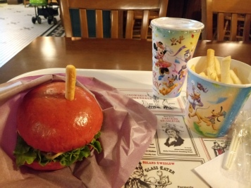Halloween special set of prosciutto with apple sandwich, fries and drink (Kirin apple soda)