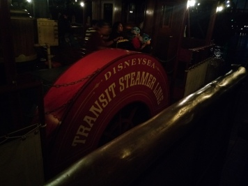 "Side of boat says ""Disney Sea Transit Steamer Line"""
