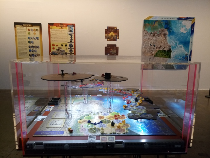 """Simon Denny's """"Founders Board Game Display Prototype/ Founders Rules"""""""